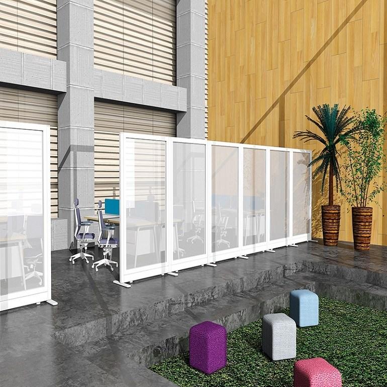 아이원퍼니처 60T 올 유리 파티션 H1500 투명강화유리, 화이트/투명유리/H1500*W800