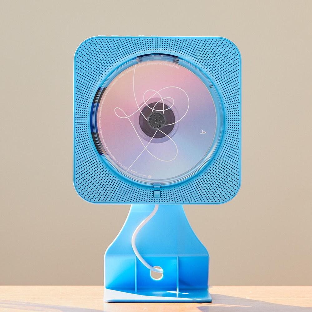 감성플레이어 벽걸이CD플레이어 DVD플레이어 블루투스스피커, 블루, CD+DVD플레이어