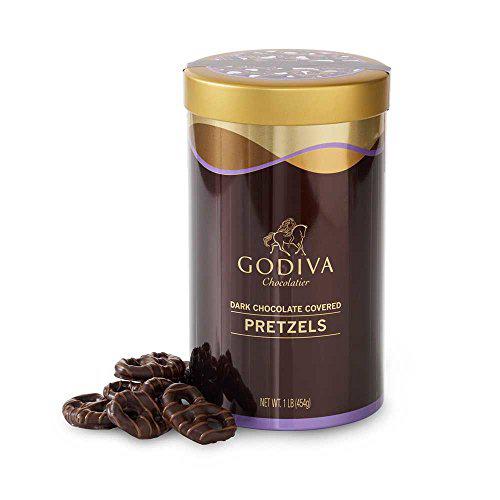 Godiva Chocolatier Dark Chocolate Covered Pretzels Chocolate Snacks Chocolate Nuts 1 pound can (a