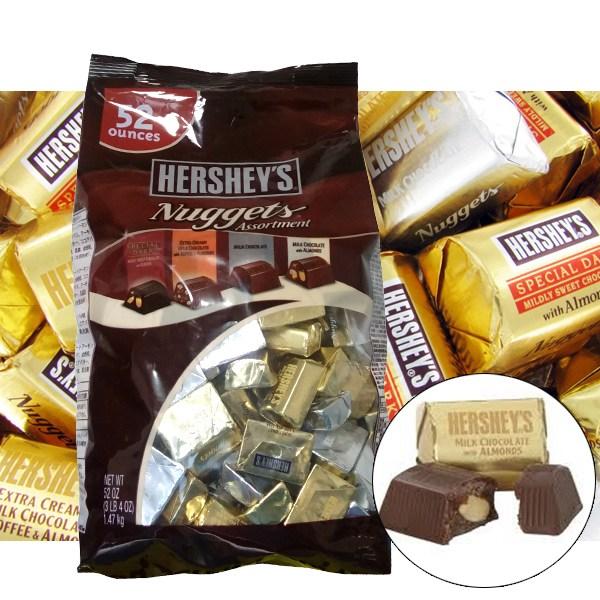 허쉬 너겟 어쏘트먼트 초콜릿1.47kg/허쉬초콜렛/허쉬너겟 낱개포장 대용량초코렛, 단일상품