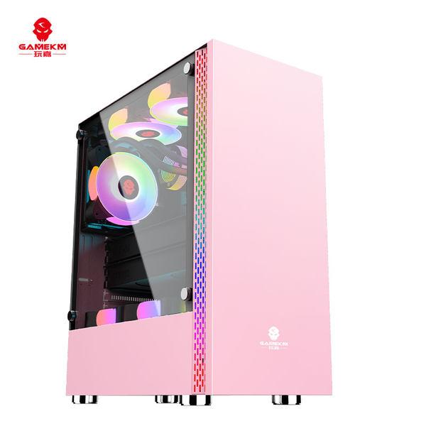 Jia 갑옷 컴퓨터 케이스 데스크탑 DIY 유리 전면 투명 와이드 바디 게임 수냉식 ATX 대형 보드 케이스 백, 03 갑옷 핑크
