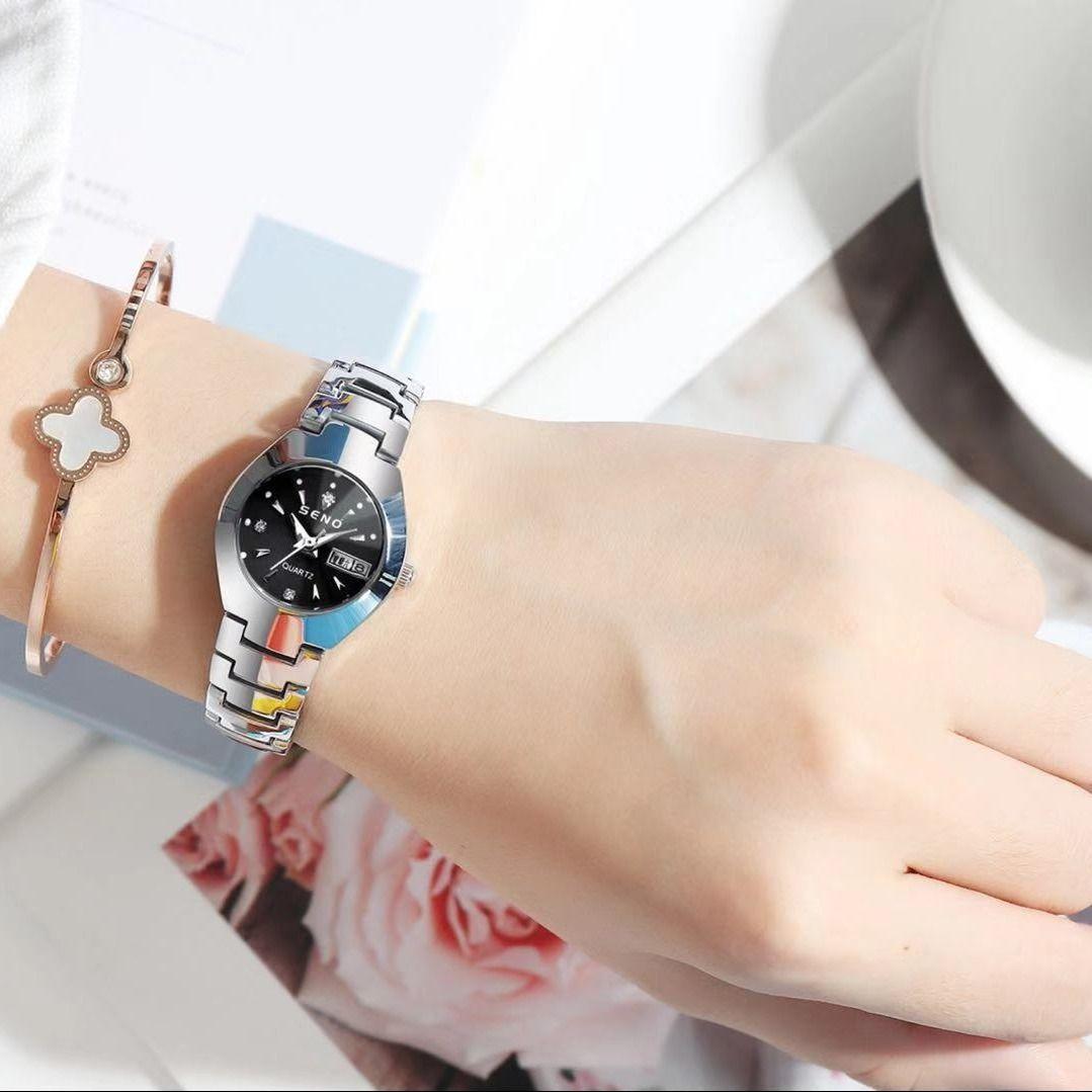 해외 텅스텐 스틸 자동 시계 발광 달력 방수 여성패션 시계-16423