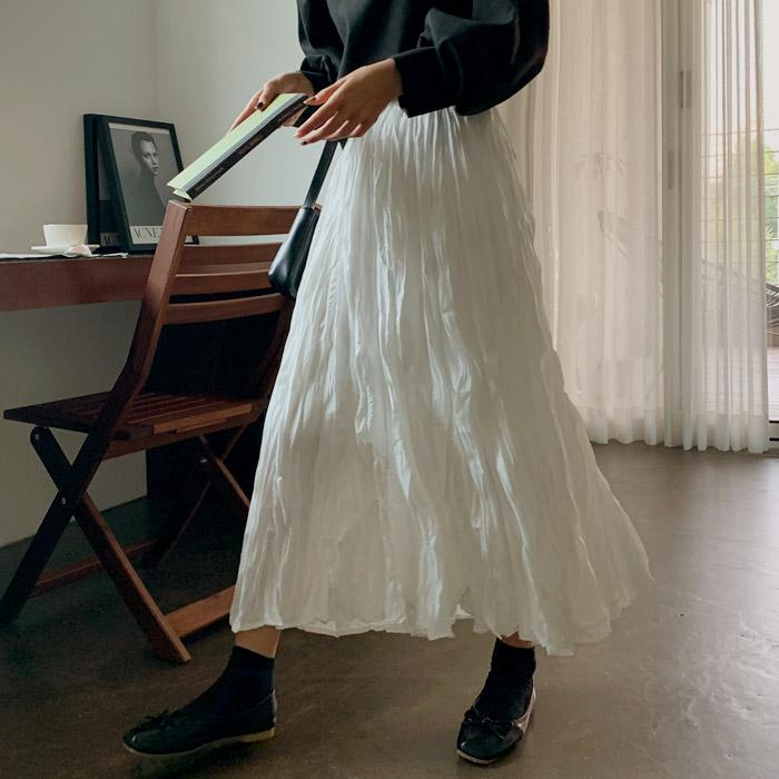 [여성패션] [판매자확인필수/고객만족100%] 온더리버 110726 뮤즈 엘레강 링클 롱 스커트 여성 사계절 빅사이즈 봄 주름 치마 밴딩 봄옷 여자 롱치마 롱스커트 - 랭킹29위 (10200원)