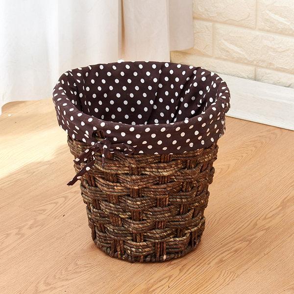 라탄공예 내집꾸미기 여름인테리어 다용도 라탄바구니, 둥근 옥수수 피부 둥근 흰색 점 천