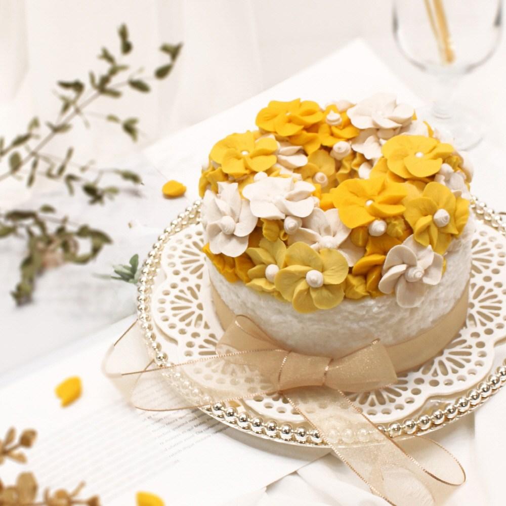 (주)예맛떡 [Best선물기획] 꽃피는봄이오면(옐로우벚꽃)1호 앙금플라워떡케이크 전국배송, 1개, 1kg