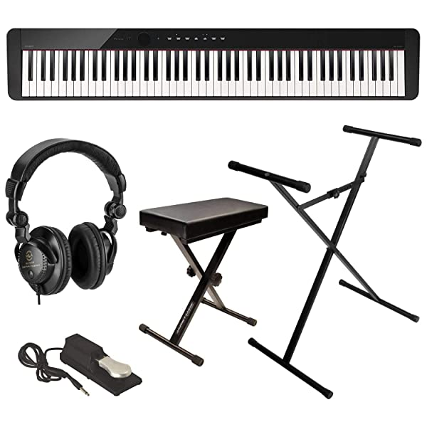 Casio Privia PX-S1000 88-Key Digital Piano (Black) Bundle with Bench Stand Sustain Pedal and H&A
