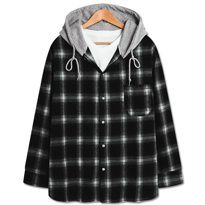 프렌치 체크 오버핏 후드 긴팔셔츠 (DO300)