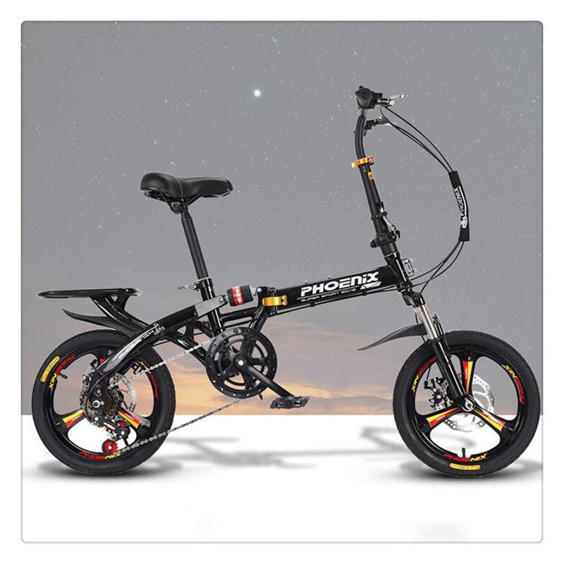 티피 접이식 자전거 신모델 성인 변속감진 경량대보, 블랙20 인치