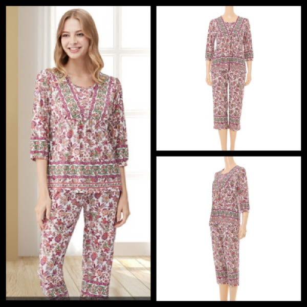 [현대백화점][ 비너스 ](세탁비누증정) 가볍고 편안한 보헤미안 프린트 여성홈웨어 잠옷세트 (VEVEP3380F)