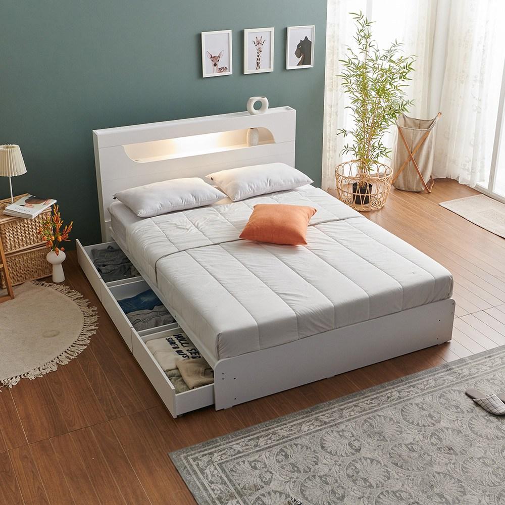 라자가구 RF 엘리아엠 LED 리노 서랍 침대 (매트제외), 화이트