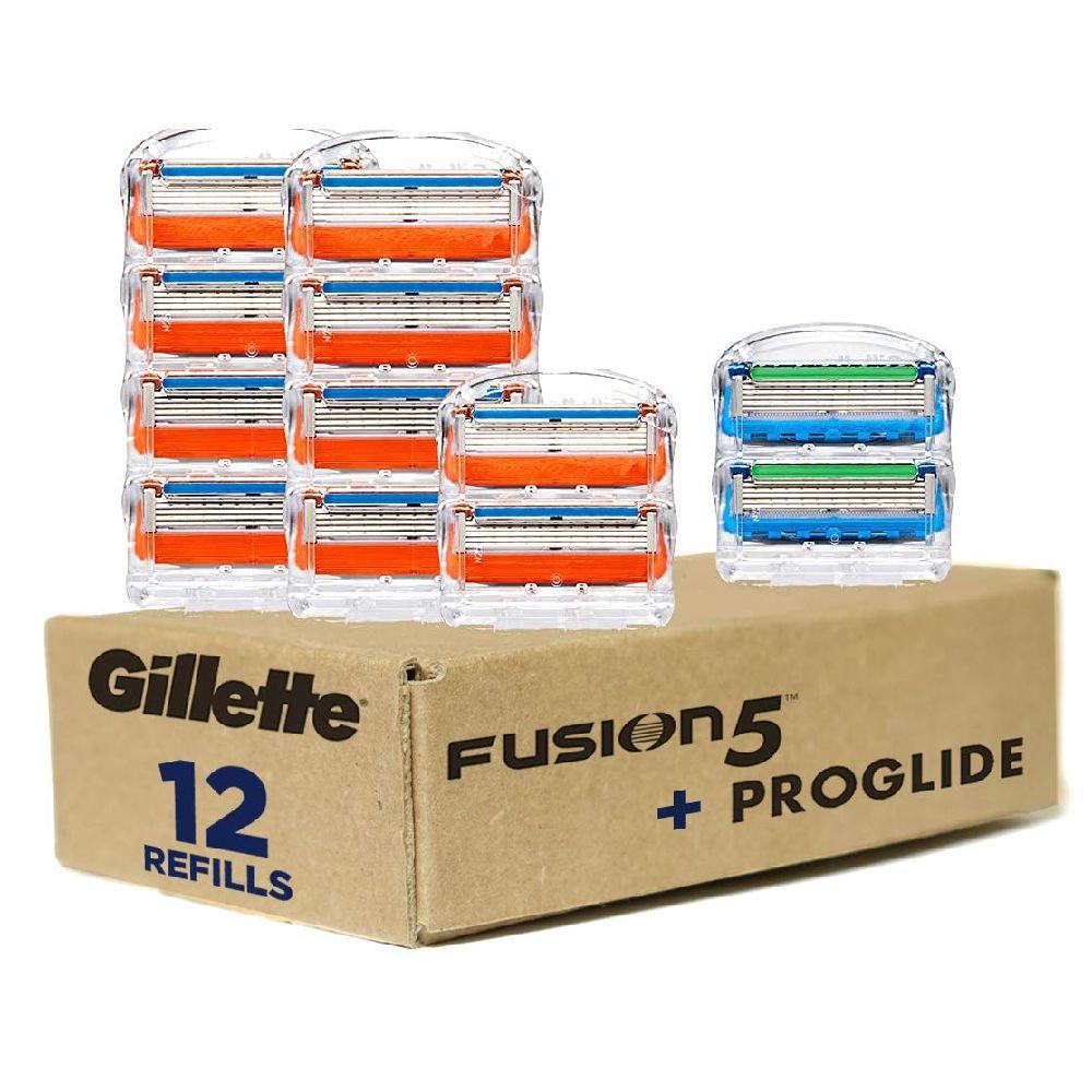 Gillette 질레트 Fusion5 남성 면도기 블레이드 - 10 리필 + Fusion5 ProGlide 면도기 블레이드 2 개 리필, none, 상세페이지참조