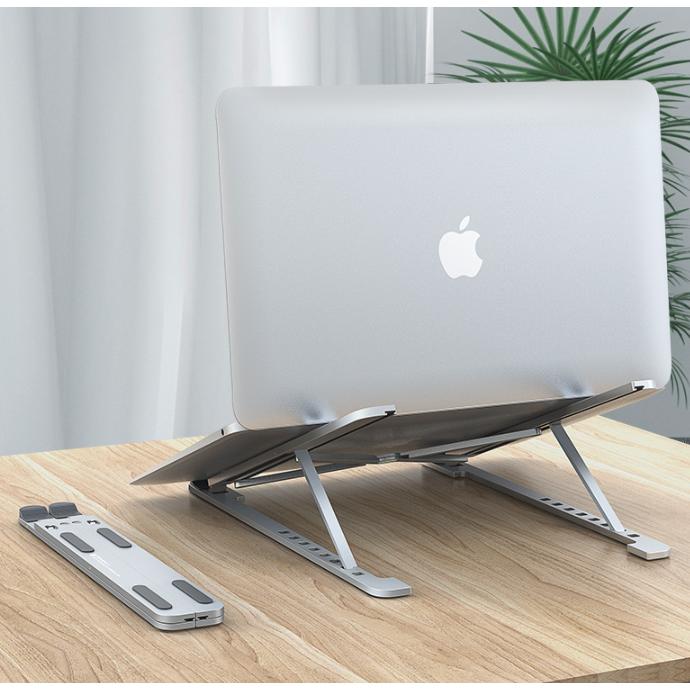 JIVA 휴대용 노트북 거치대 알루미늄 침대 접이식 17인치 2단 게이밍 받침대 쿨러, (접이식)실버-14-4604544416