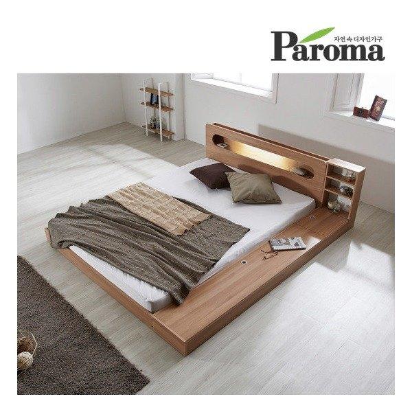 [파로마] 에반 LED 저상형 침대/수납형 퀸(Q)_40T라텍폼스(착불), 색상선택:그레이