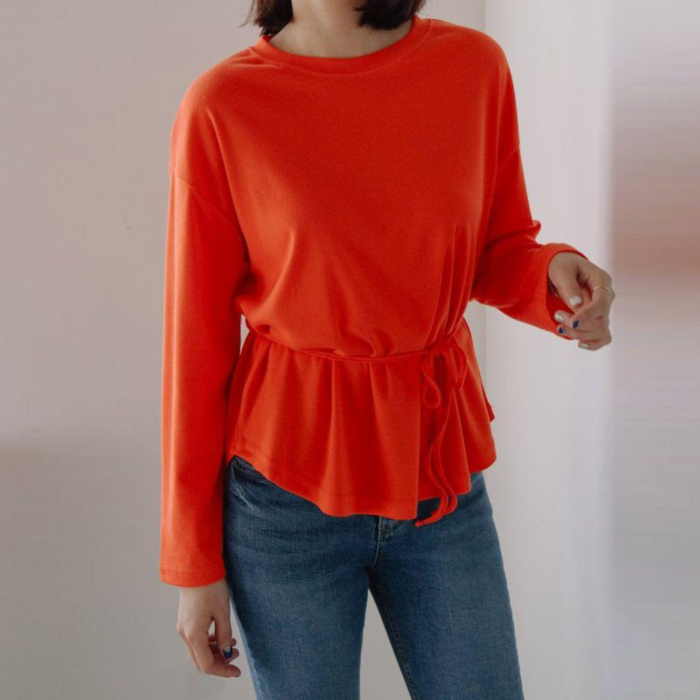 스타일링 허리 끈 티 8479MT003 여성 의류 옷 레이어드 코디 끈 슬림 티셔츠
