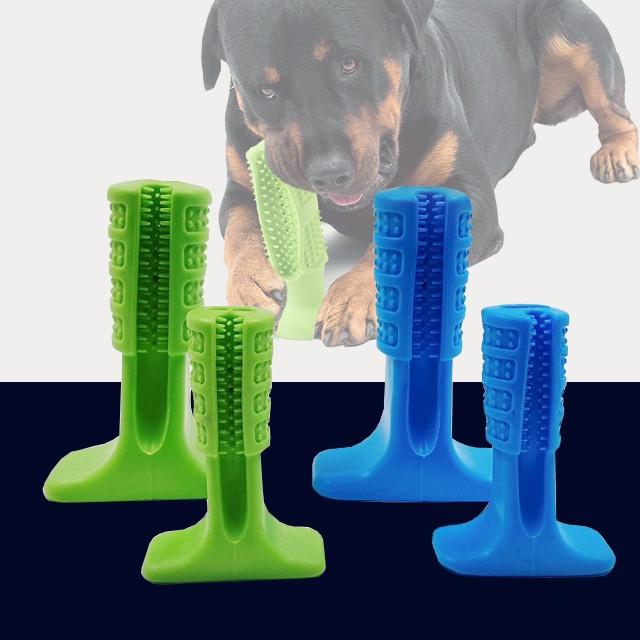 로디나 강아지 양치 장난감 강아지이갈이 치석제거 반려동물 칫솔, 1개, 소형견용 - 그린