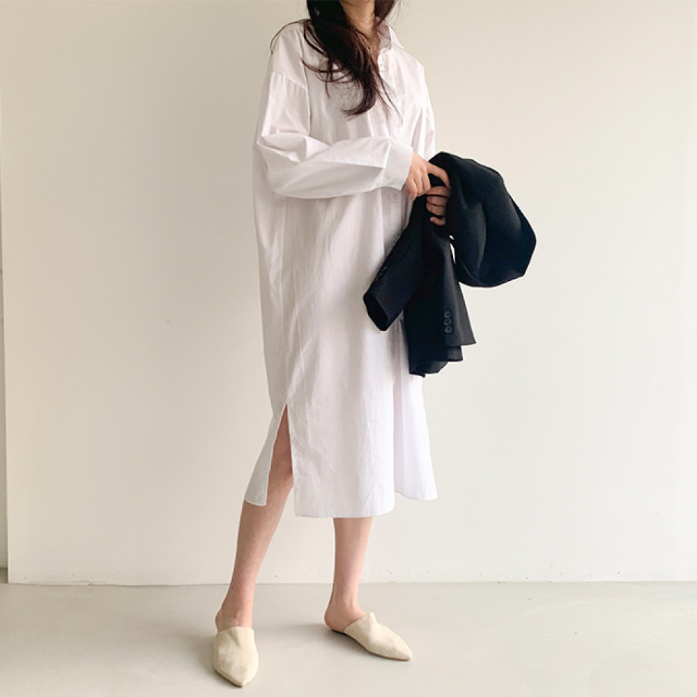 유앤영 / 이지 루즈핏 롱 셔츠 봄 원피스