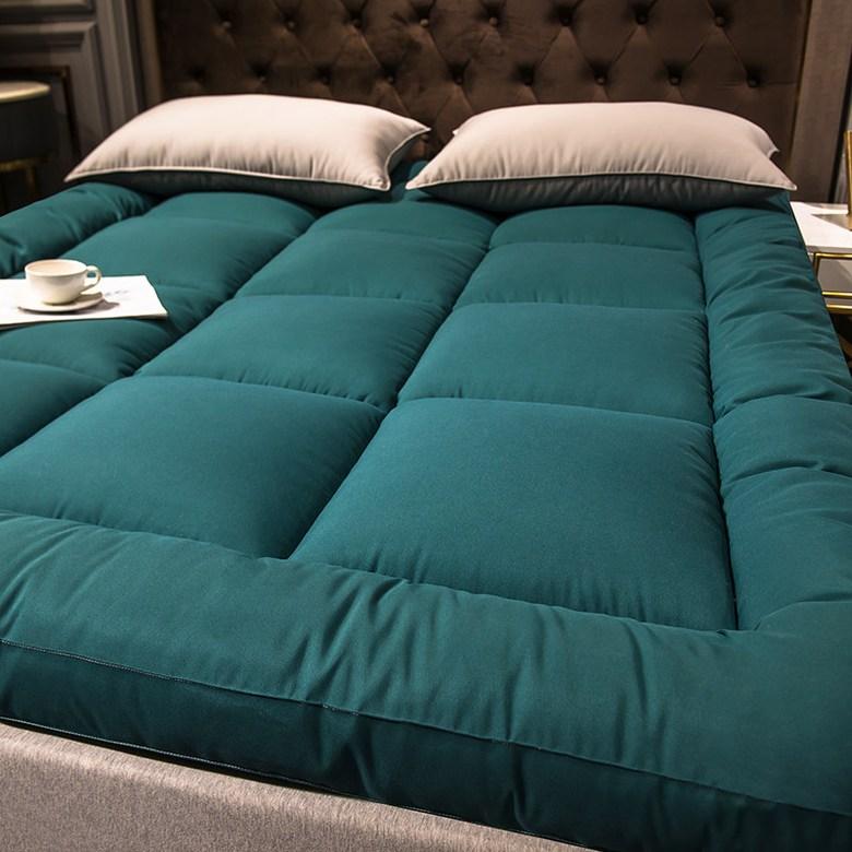 해외직구 두꺼운 침대 호텔 발열 토퍼 매트 접이식 바닥에까는 이불 무중력 120 150, 다크 그린