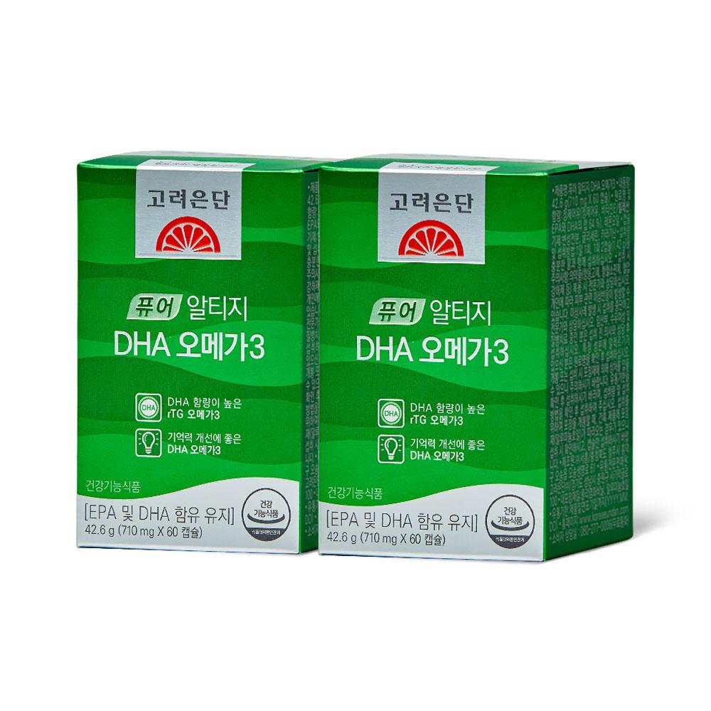 고려은단 퓨어 알티지 DHA 오메가3 42.6g (710mg x 60캡슐), 60캡슐, 2개