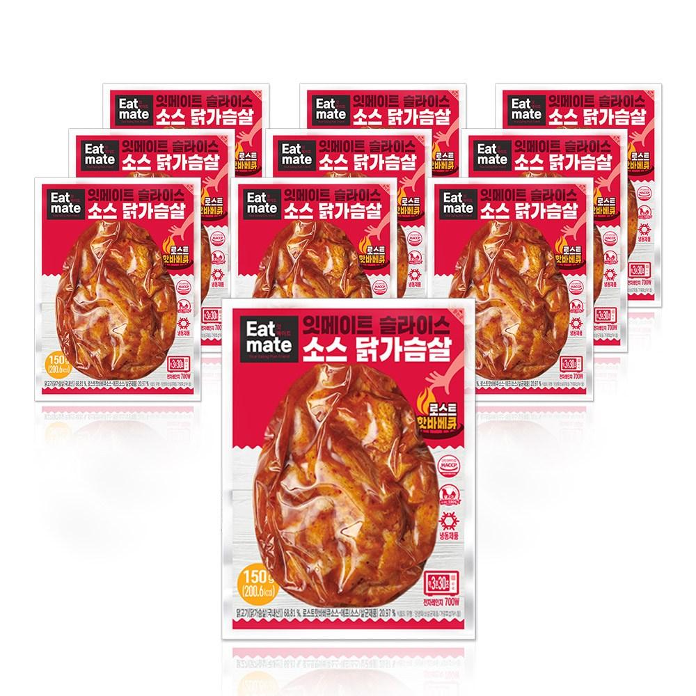 잇메이트 슬라이스 소스 닭가슴살 로스트핫바베큐 150gx10팩(1.5kg), 단품