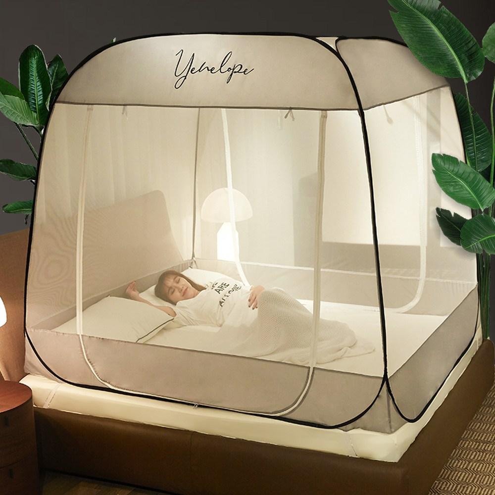 원터치모기장 텐트형 사각침대모기장 디자인 모기장, 심플 아이보리(M-IV05)
