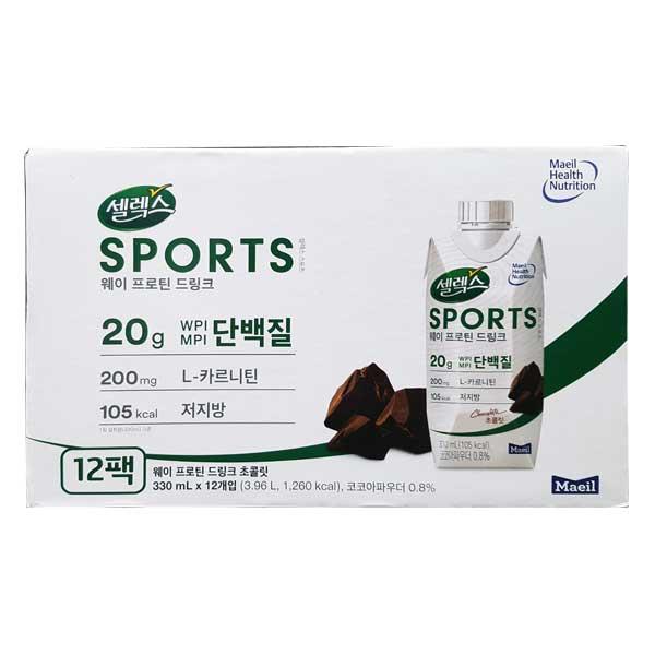 셀렉스 스포츠 웨이프로틴 드링크(330ml x12팩), 단일상품, 단일상품