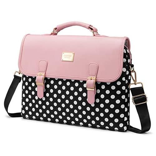 노트북 파우치 Computer Bag Laptop Bag for Women Cute Laptop Sleeve Case for Work College Slim-Pink 13-Inch, Size = 14-Inch | Color = polka-pink