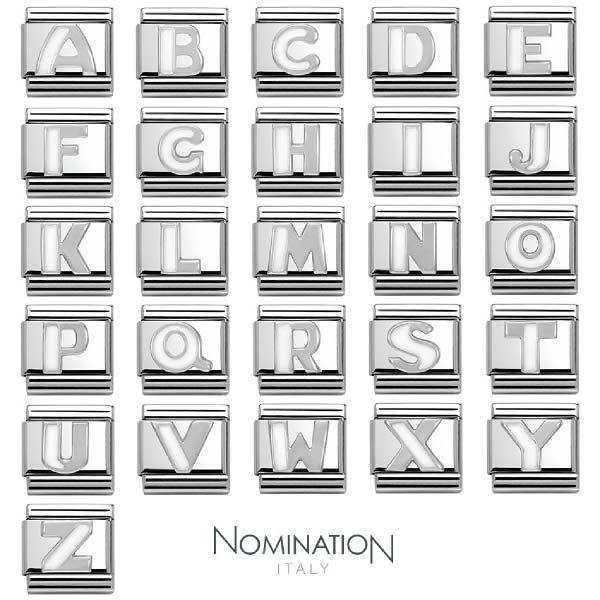 [현대백화점]노미네이션 COMPOSABLE Classic 컴포저블 클래식 WHITE ALPHABETH 이니셜 실버 링크 330205