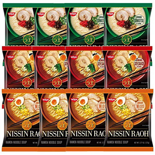 Nissin RAOH Ramen Variety Packs Noodle Soup Umami Tonkotsu Soy Sauce and Miso Plastic Forks Incl, 1