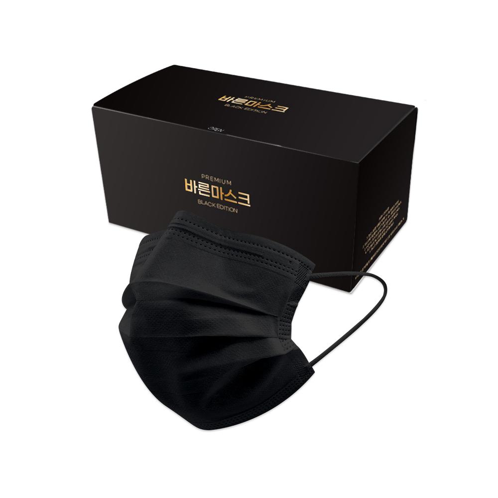 바른 국내생산 고품질 일회용 마스크 50매 블랙, 1box, 50개