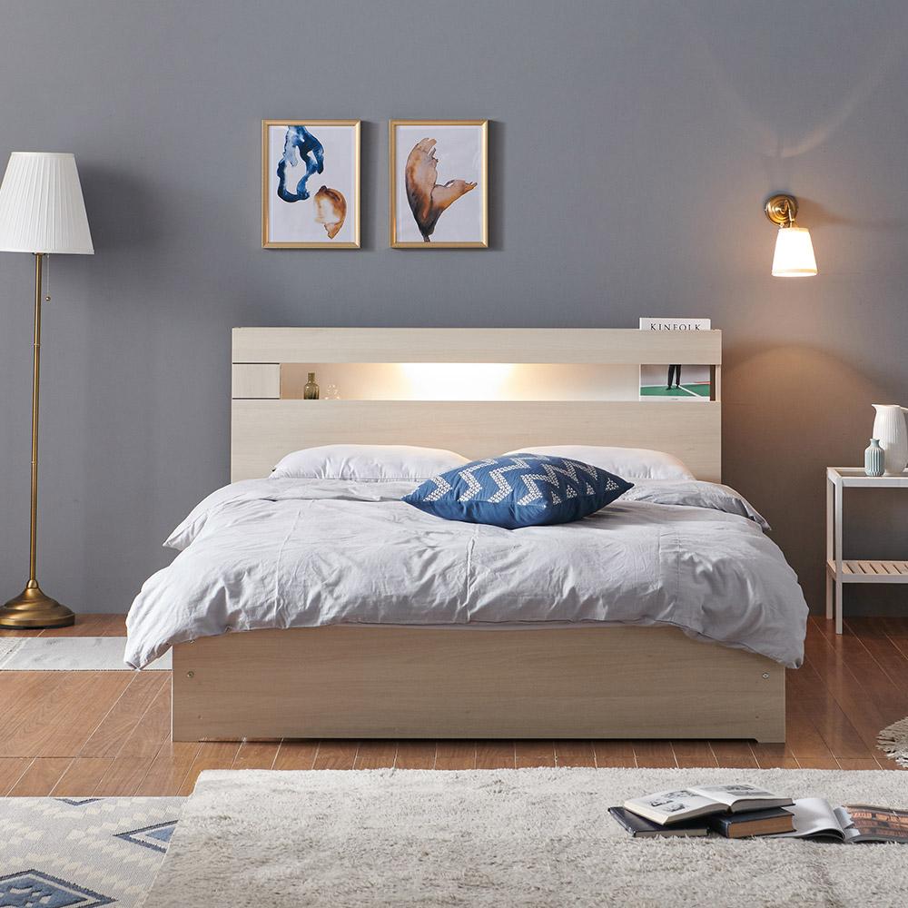 그레이스 LED 일반형 퀸 침대 Q+본넬 매트리스+방수커버, 메이플
