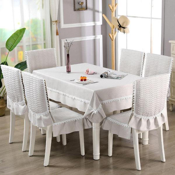 패브릭 순면 테이블보 식탁 의자 커버 4인 6인 세트, 회색_쿠션6개 + 등받이6개 (테이블 보 없음)