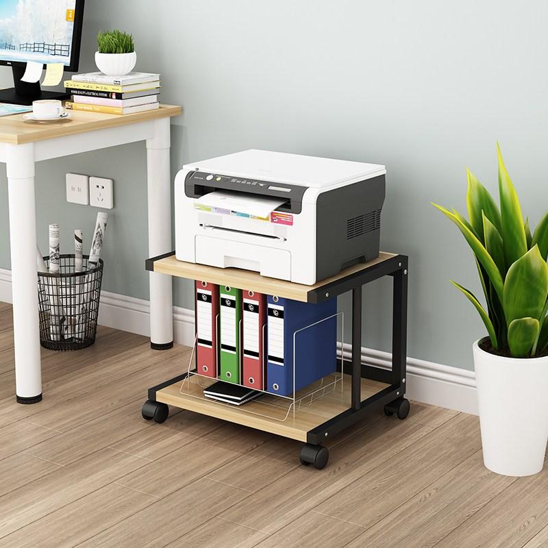 프린트거치대 프린터선반 인쇄기 캐비닛 스탠드형 이동식 사무실 수납 선반 손수레 접지력 슬라이딩 선반 바퀴조립 물건 다층 컴퓨터책상 본체 수납 프린트, E2 오크 + 블랙프레임