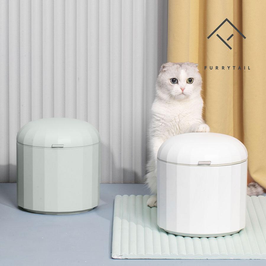 퓨리테일 고양이 강아지 반려동물 이중밀봉 습기차단 사료보관통 (국내_당일출고), 6L, 그린