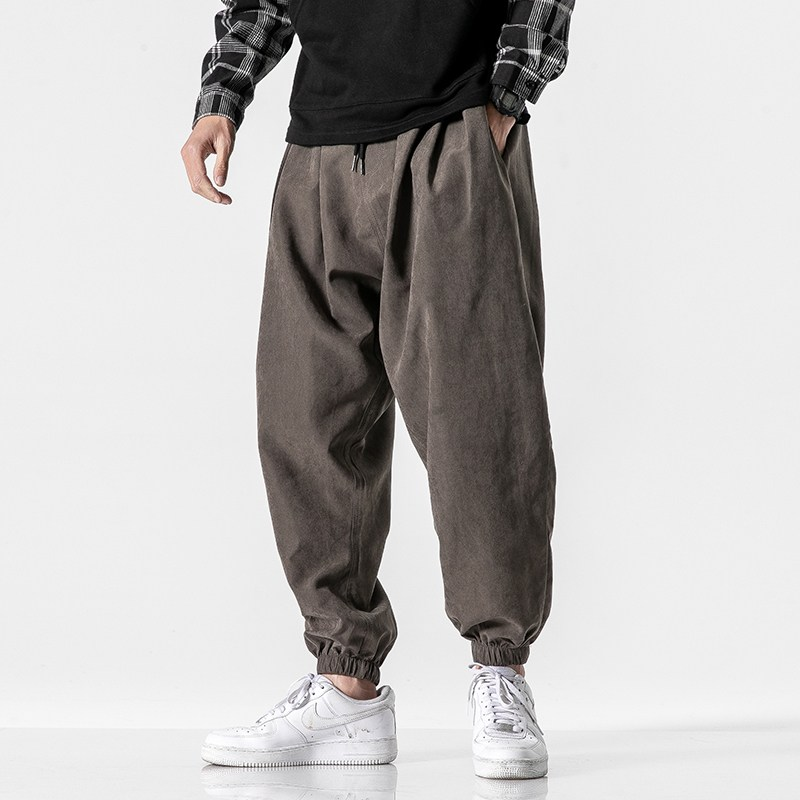 남자와이드팬츠 벌룬팬츠 루즈핏 일본스타일 와이드팬츠 오버사이즈 유행 빅맨 조거바지 코디하기쉬운 남자바지 봄여름 얇은타입