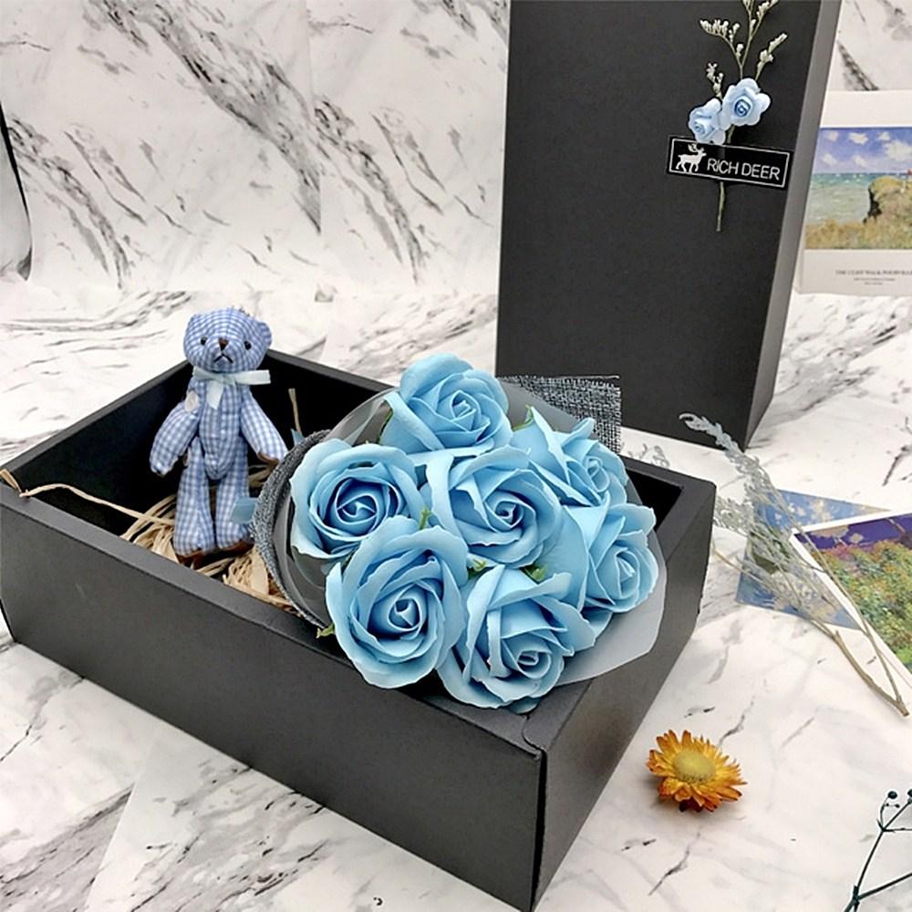 쇼핑채널1번지 특별한 성년의날 여자친구생일선물 장미 비누꽃다발 박스, 4.블루 플라워 비누꽃 인형박스