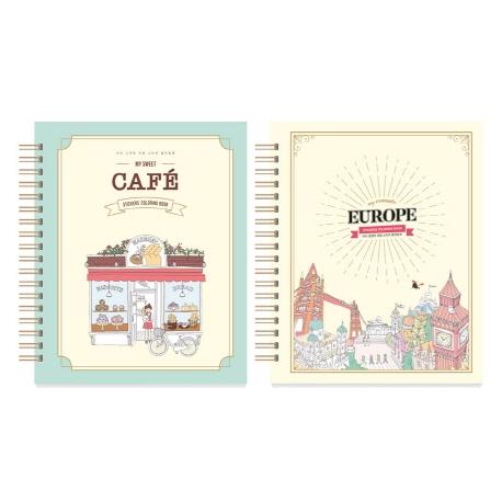 마이 로맨틱 유럽 스티커 컬러링북+마이 스위트 카페 스티커 컬러링북 세트, 아르누보