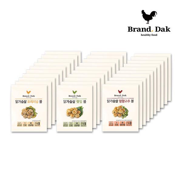 브랜드닭 닭가슴살볼 오리지널10+깻잎10+청양고추10팩, 30팩, 100g