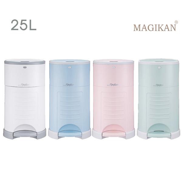 매직캔 매직캔휴지통 25L 와이드형 속뚜껑 (화이트 블루 핑크 민트) +리필포함 -M280NS, 1개, 01_ M280NSW→25L 매직캔기저귀통/화이트