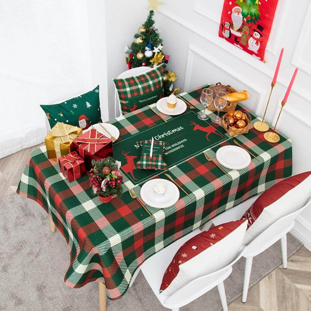 캠핑 방수 테이블보 크리스마스 성탄절 미니 협탁보 식탁보 1인 6인용 크로쉐, 85x85CM, C