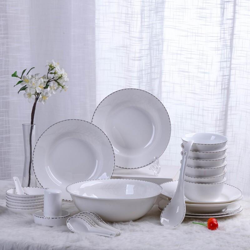 호 아 식기 세트 경덕진 도자기 그릇 도자기 수저 접시 28 마리 은색 사랑