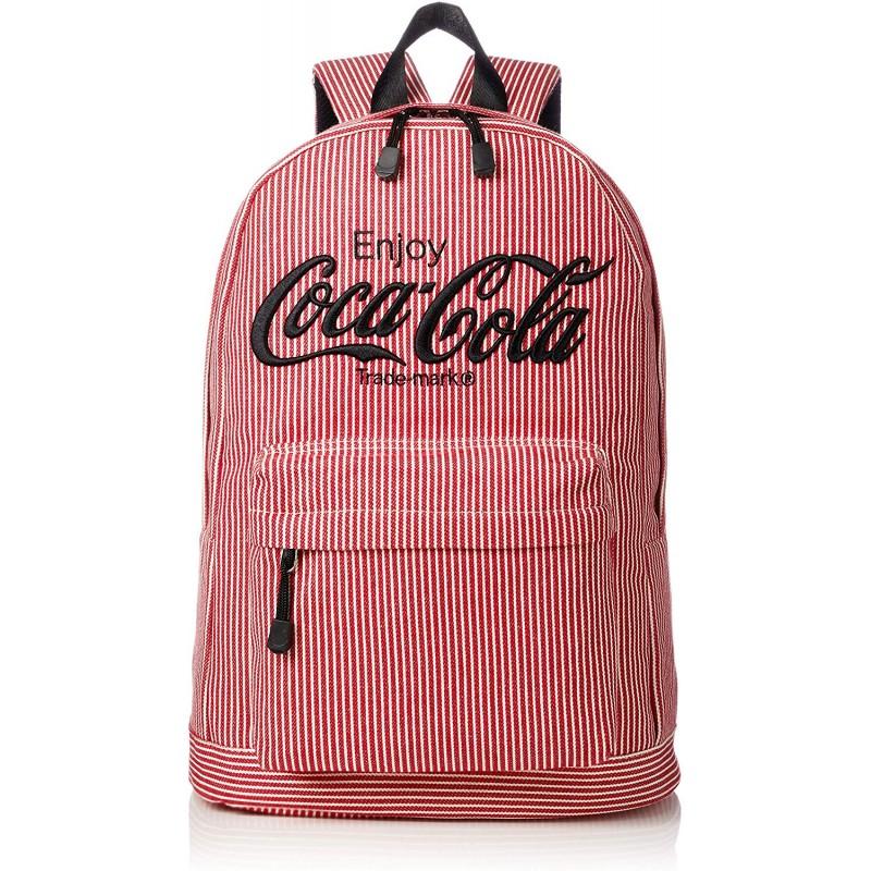 [코카콜라] 배낭 배낭 배낭 히코리 여성 남성 콜라 코카콜라 로고 자수 스트라이프 대용량 통학 통근 편