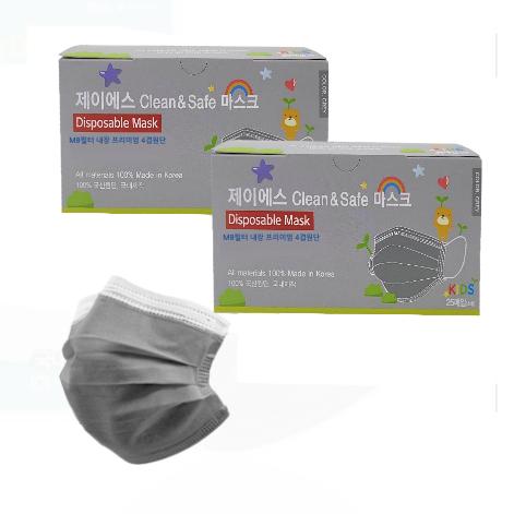 KF-AD 제이에스 클린앤세이프 비말차단마스크 4겹 대형 소형 화이트 그레이 회색 핑크 블랙 컬러마스크 100% 국산 유한킴벌리 원단, (국산) 제이에스 소형 4겹그레이마스크(25매X2)