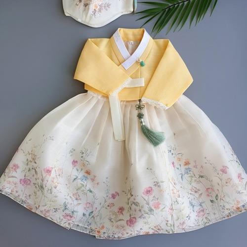 (여아한복) 꽃담은 노랑 레이스 저고리 (백일 1세부터 8세)-15-1999313087