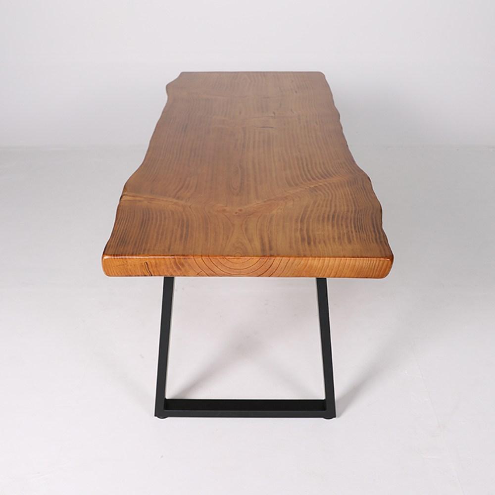 verde 우드슬랩 통원목 스틸 테이블, 8인 식탁 2400형
