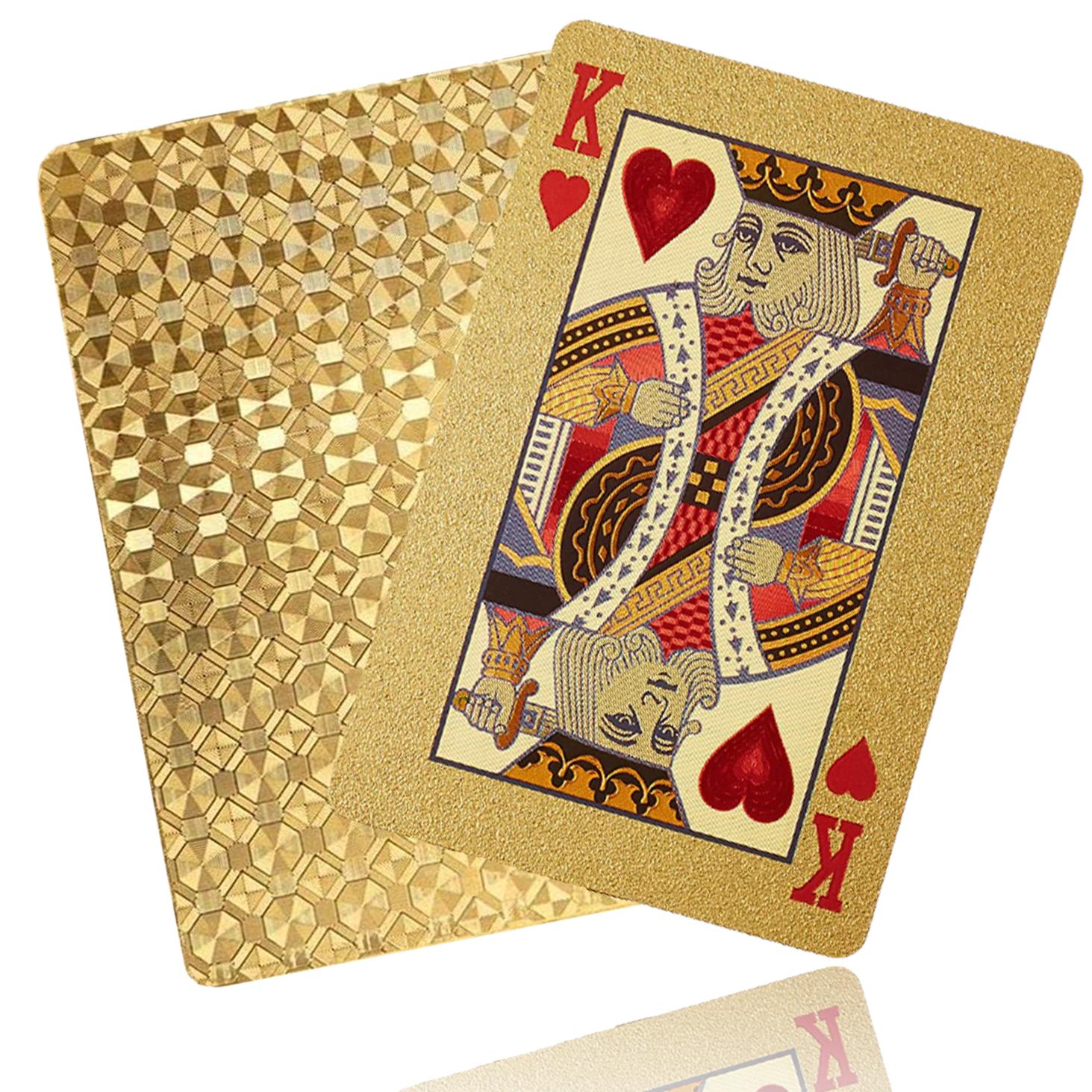 [국내직배송] 럭셔리 24K 골드 포커 카드 (PVC 플라스틱 방수 다이아몬드 패턴)