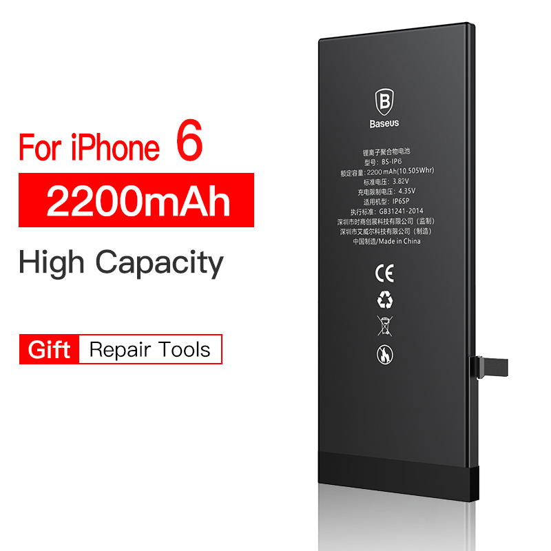 BASEUS Baseus 베이스 배터리 iPhone 6s 6 s 5s 5 5c 7 8 Plus 원래 대용량 Bateria 교체 7P 8P, For iPhone 6 2200mah
