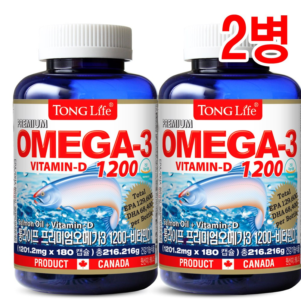 Canada 캐나다 직수입완제품 통라이프 프리미엄오메가3-1200+비타민D 혈행 기억력개선 칼슘과인흡수에도움, 180정, 2병