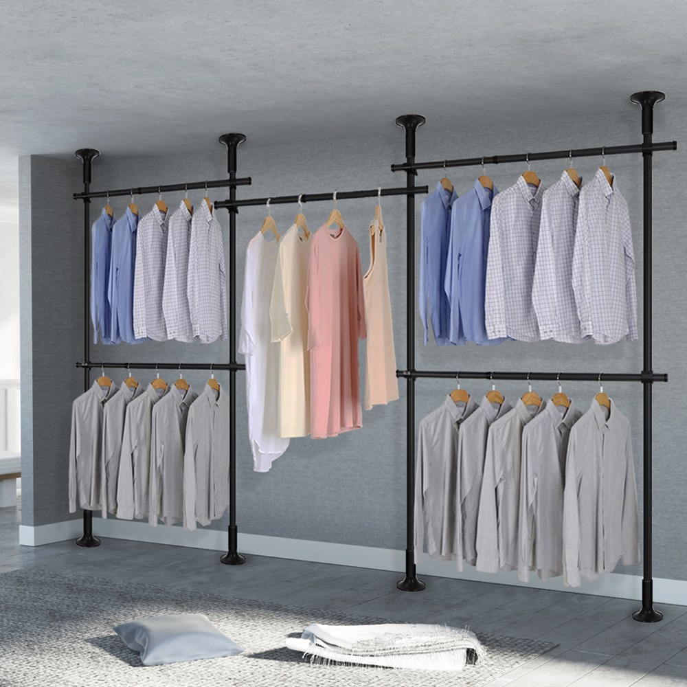 리우리빙 5단 스크류 옷걸이 행거 드레스룸 헹거 38mm (3colors), 블랙
