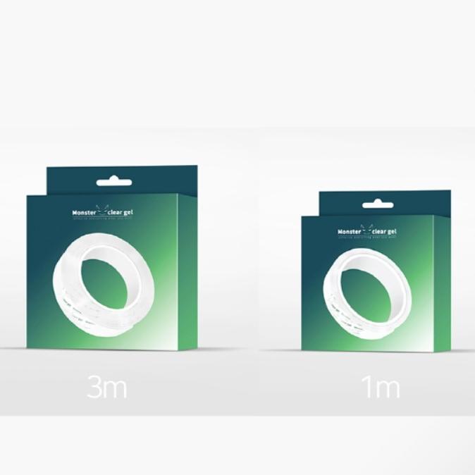 몬스터클리어겔 투명 초강력앙면테이프 재사용가능 길이 1M 3M, 1개, 투명 3미터