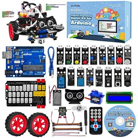 OSOYOO Arduino Uno 그래픽 프로그래밍 로봇 자동차 스타터 키트 코딩 구축 학습을위한 원격 제어 STEM, One Color